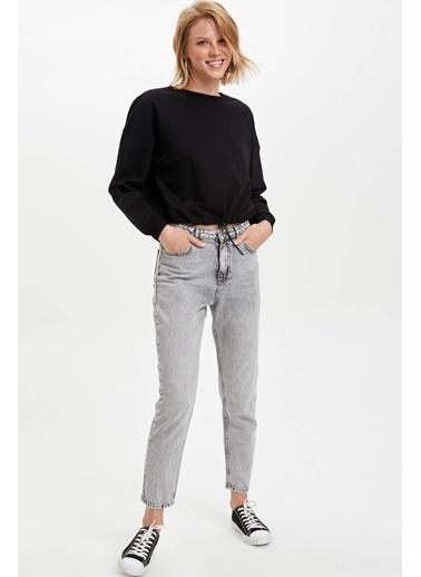 DeFacto Belden Bağlamalı Sweatshirt Siyah